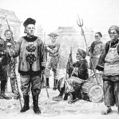 black and white drawing, Chinese soldiers