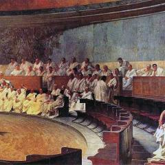 Cicero Denounces Catiline; Image by Cesare Maccari [Public domain], via Wikimedia Commons