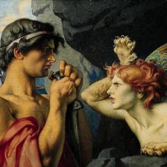 Oedipus and the sphinx, oil on canvas; Image by François-Émile Ehrmann (base Joconde) [Public domain], via Wikimedia Commons