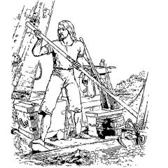 Robinson Crusoe on a raft, black and white drawing