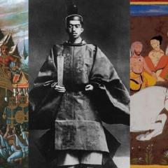 collage of images illustrating Asian religion and monarchy