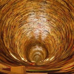 spiral book tunnel; Image via Pixabay, CC0 Public Domain