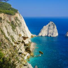 Greece, coast, blue sea, rock; Image via Pixabay, CC0 Public Domain
