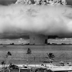 nuclear weapons test explosion, black and white; Image via Pixabay, CC0 Public Domain