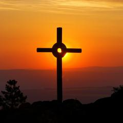 cross against sunset background; Image via Pixabay, CC0 Public Domain