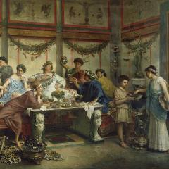 A Roman Feast by Roberto Bompiani [Public domain], via Wikimedia Commons