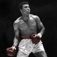 picture of Muhammad Ali with his boxing gear on