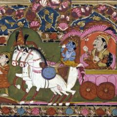 Krishna and Arjun on the chariot, Mahabharata, 18th-19th century, India, by Anonymous (Smithsonian Freer Sackler Gallery) [Public domain], via Wikimedia Commons