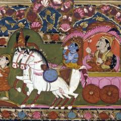 Krishna and Arjun on the chariot, Mahabharata, 18th-19th century, India, by Anonymous (Smithsonian Freer Sackler Gallery) [Public domain], via Wikimedia Commons